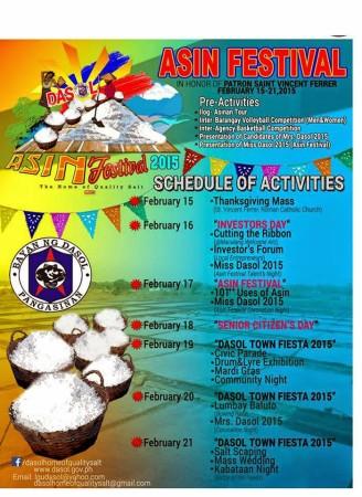 Asin Festival 2015 Schedule of Activities - Dasol, Pangasinan